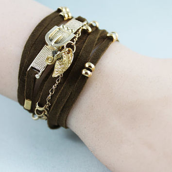 Brown Beaded Wrap Bracelet, Earthtone Goat Suede and Gold Chain Wrapped Bracelet, Gift Idea