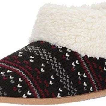 Dearfoams Womens Patterned Knit Bootie