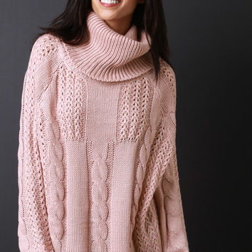 Cowl Neck Cable Knit Sweater | UrbanOG