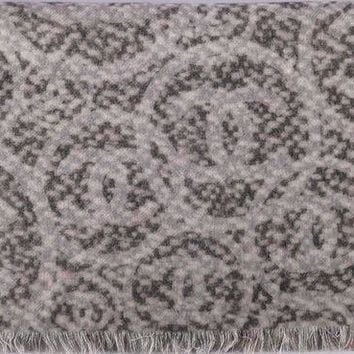 LMFON Chanel Scarf Shawl Poncho Throw Wrap 100% Cashmere Signature Reversible 72 x 200