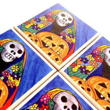 Ceramic Tile Coasters Rosie Brown Halloween Drink Set