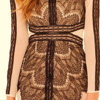 Front Lace Black/Beige Piping Dress