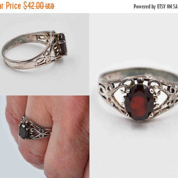 ON SALE Vintage 925 Sterling Silver Filigree & Garnet Ring, Hearts, Scrolls, Red Garnet, Openwork, Size 7, Feminine, Rich Red Beauty! #b668