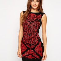 Lipsy Baroque Print Bodycon dress - 051red