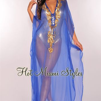 Royal Blue Sheer Gold Sequins Cover Up Maxi Dress