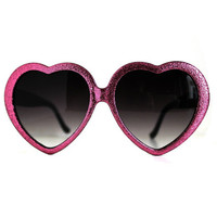 Handmade Glitter Heart Sunglasses, Pink Hearts Eyeglasses, Vintage Lolita Heart Glasses, Hand Embellished Sunglass, Valentines Day
