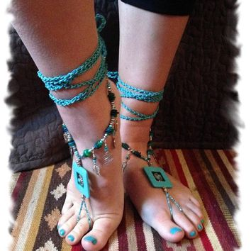 Beaded BAREFOOT Sandals, Turquoise Barefoot Sandals, Beach Wedding Barefoot Sandals, Barefoot Sandals, Bridal Shower Gift, Turquoise Sandals