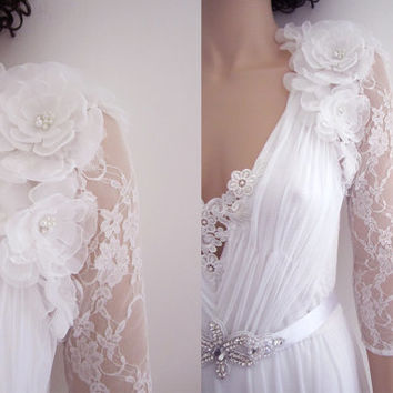 Bridal Bolero Shrug in Ivory  Vintage Style Wedding Jacket : MONIKA Floral Rhinestone Bridal Long Sleeve Bolero