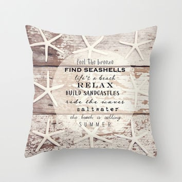 starfish on wood Throw Pillow by Sylvia Cook Photography