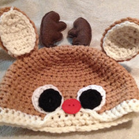 Infant/Baby Reindeer/Rudolph Beanie with Antlers & Cute Red Button Nose