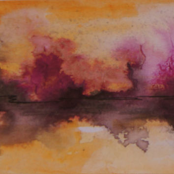 Abstract Original landscape ACEO painting - Mini art trading card, original ATC, 2.5 by 3.5 in - Lake Sunset 6 - watercolour, Free Shipping