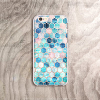 iPhone 6s Case Transparent iPhone 6S Plus Case Clear Mint iPhone 6 Case Note 5 Clear Samsung Galaxy S7 Case Hexagon iPhone Case Mint iPhone