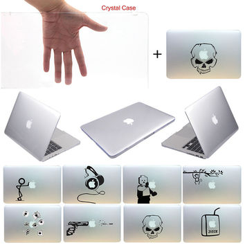 """New Glossy Crystal Hard PC Clear Case Cover with Decal Sticker For Macbook Pro Retina 13"""" Free Shipping"""