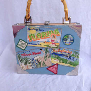 Beaded CIGAR BOX purse Florida travel
