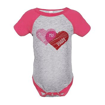Custom Party Shop Baby Girl's Mommy + Daddy = Me Valentine's Day Onepiece 18 Months Pink and Grey
