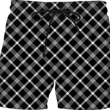 Black and white scottish tartan, buffalo plaid pattern swim shorts design, retro style pants