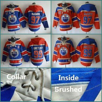 DCCKU3N NHL Mens #97 Connor McDavid #99 Wayne Gretzky Ice Hockey hoodie 2016 Old Time hoodies