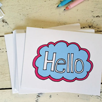 Hello Cards Set of 12 Stationery Cards - Just Because Card - Hand Lettered - Pink and Blue Cloud - Fun Card - Cute