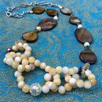 Yellow or Lilac Colored Jade Rings and Taupe Mother of Pearl Necklace.  Bold, Statement necklace