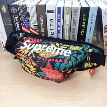 Hot Unisex Red Marple Supreme Print Chest Bag Waist Bag