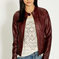 moto jacket with button tabs and knit ribbing