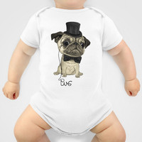 Pug; gentle pug (color version) Baby Clothes by Barruf