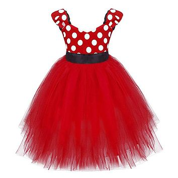 Girl Minnie Mouse Print Tutu Dress