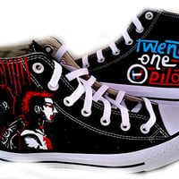 21 Pilots, Converse Hi Tops, Custom Shoes, Hand Painted Shoes, Sneakers, Concert Outfit, Prom, Home Coming, Shoes Included