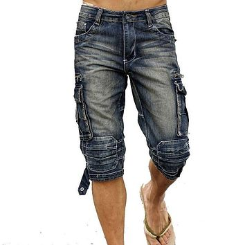 MORUANCLE Mens Summer Vintage Cargo Denim Shorts Washed Retro Short Jeans With Multi