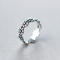 S925 Retro Folk Style Silver Flower Ring, Sweet Flower Ring J1134  171204