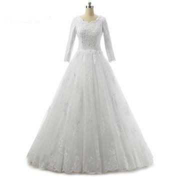 Vintage Lace Long Sleeve Wedding Dress Ball Gown Dresses Women Bridal Wedding Gowns