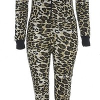 Gracious Girl Women's Evana Animal Print Hooded Jumpsuit Onesuit
