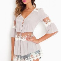 Ashbury Lace Top - Lavender - NASTY GAL