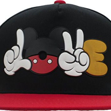 YCMI Cartoon Stlye Black Mickey Mouse Snapback Cap Hat for Men and Women Baseball Cap (Black+Red)