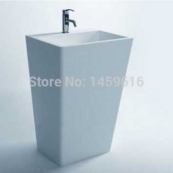 Bathroom Cuboid Pedestal Washbasin Cloakroom Rectangular Solid Surface Stone standing Vanity Sink W9002