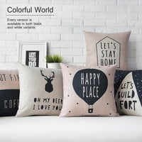 Nordic Deer Animal Quote Balloon Linen Pillow Case Decorative Cushion Cover 18""