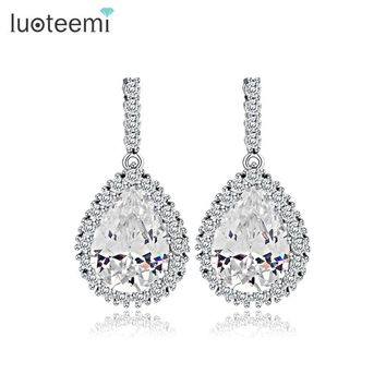 LUOTEEMI AAA Cubic Zirconia Classic Big Drop Crystal Earrings with Tiny CZ Luxury Bridal Wedding Earrings for Women Wholesale