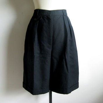 Vintage 80s Shorts-Giorgio Sant Angelo Black Wool Cuff Dress Shorts 12