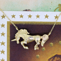Vintage Unicorn Necklace | Yellow Gold Necklace Pendant | Tiny Charm Necklace | Statement Necklace | Conversion Jewelry | Animal Jewelry