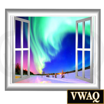 Winter Scene 3D Wall Decal View Peel & Stick Easy to Apply Home Décor VWAQ® GJ02