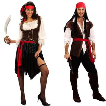 New Women Men Pirates Jack Sparrow Cosplay Costume Masquerade Pirates Costumes Carnival Birthday Female Party Supplies