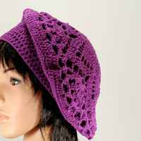 SALE Purple Beret Hat,orchid beret Cap, crocheted Snood hat, Womens Crocheted Accessories