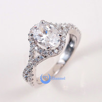 1.5ct Engagement Solitaire RING w/accents Signity CZ Rhodium over Silver