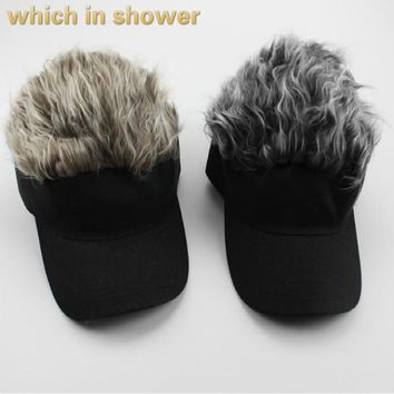 Trendy Winter Jacket which in shower funny baseball cap faux hair snapback hat for men outdoor casual curved artificial hair male cap bones AT_92_12