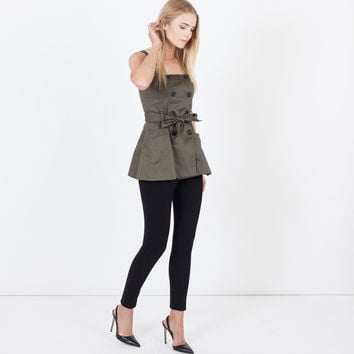Ellory Structured Button Tank (Olive)