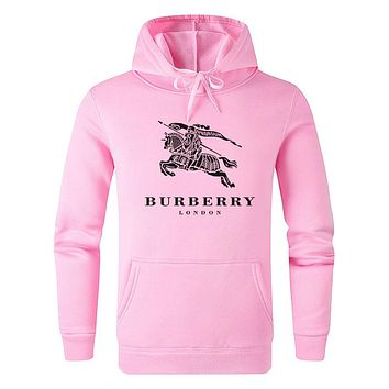 BURBERRY Autumn Winter Fashion Casual Print Long Sleeve Hoodie Sweater Pullover Top Sweatshirt Pink