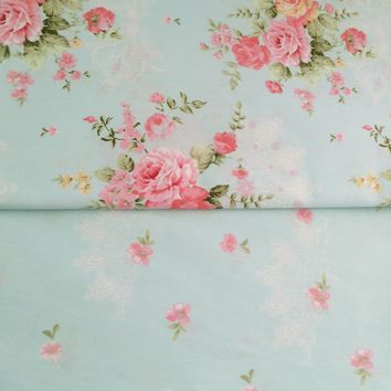 100% cotton fresh elegant Blue floral pastoral flower twill cloth DIY for kid bedding dress shabby chic curtain telas fabric