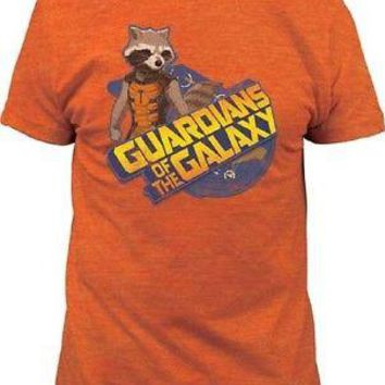 Guardians of the Galaxy Rocket Raccoon Licensed Adult T-Shirt - Orange - XXL