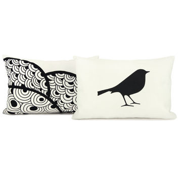 2 pillow cases in black and white  12x18 lumbar by ClassicByNature