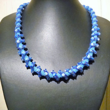 Blue spiral necklace with light blue glass beads, blue necklace, bead necklace, cellini spiral, blue spiral, blue jewelry, bead jewelry
